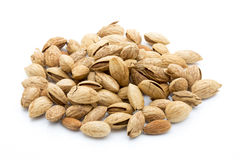 Almonds on the white isolatd background. Stock Image