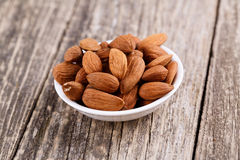Almonds on a white plate. Royalty Free Stock Photography