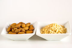 Almonds, whole and minced Stock Images