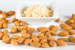Almonds, whole and minced Royalty Free Stock Image