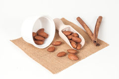Almonds in wood spoon Royalty Free Stock Images