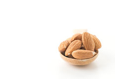 Almonds with wood spoon Stock Images