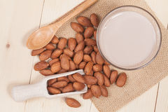 Almonds  on wooden background Stock Image