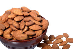 Almonds in a wooden bowl Royalty Free Stock Image
