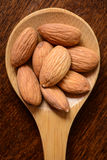 Almonds in a Wooden Spoon Royalty Free Stock Images