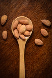 Almonds on a Wooden Spoon Royalty Free Stock Photos
