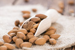 Almonds on a Wooden Spoon Royalty Free Stock Photo
