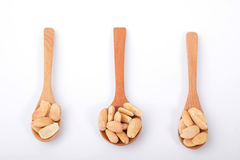 Almonds In Wooden Spoon. On White Background Royalty Free Stock Image