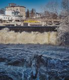 Almonte downtown fall. Waterfall in Almonte downtown, Mississippi river, Ontario, Canada Royalty Free Stock Image