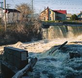 Almonte Water Fall. Falls in downtown Almonte, Mississippi Mills, Ontario, Canada Royalty Free Stock Photos