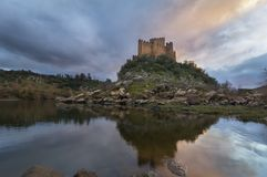 Almourol castle in Portugal stock photos