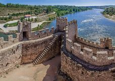 Almourol, Portugal - Castle of Almourol, an iconic Knights Templar fortress stock images
