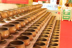 Alms bowl. For donate money in Buddhism stock image