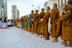 Alms-giving ceremony in Bangkok Stock Image