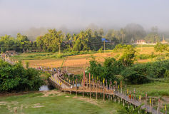 Almsgiving buddista di mattina in Tailandia Immagini Stock