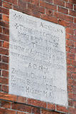 Almshouse plaque. On a wall in Aylesbury, Buckinghamshire Royalty Free Stock Photography