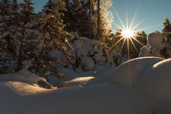 The Almtal in Upper Austria covered in deep snow an enlightened by the rising sun. The Almtal in the Upper Austrian Alps is one of the most beautiful places to Stock Photography