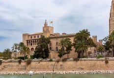 Almudaina Palace in Palma de Mallorca - Balearic Islands, Spain stock photos