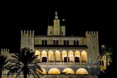 Almudaina Palma de Mallorca. Royal Palace Almudaina in Palma de Mallorca at the Night Royalty Free Stock Images