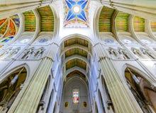 Almudena大教堂五颜六色的天花板  库存照片