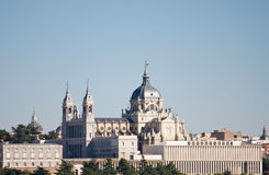 Almudena Cathedral. The Almudena Cathedral in Madrid, seen from an unusual angle Stock Image