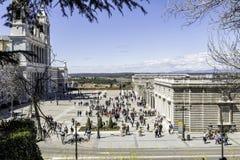 Almudena Cathedral e palazzo reale a Madrid Immagini Stock Libere da Diritti