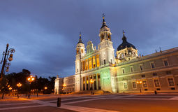 Almudena cathedral in evening. Madrid, Spain Royalty Free Stock Images