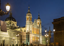 Almudena cathedral madrid in night Stock Photos
