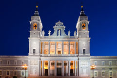 Almudena cathedral at Madrid in night. Spain Royalty Free Stock Photos