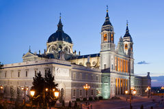 Almudena cathedral at Madrid in night Royalty Free Stock Photo