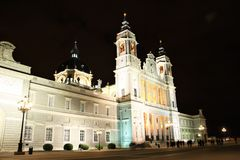 Almudena Cathedral in Madrid, Spain at night Royalty Free Stock Images