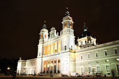 Almudena Cathedral in Madrid, Spain at night Royalty Free Stock Photos