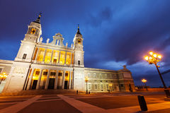 Almudena  cathedral at Madrid in twilight Royalty Free Stock Photography