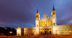 Almudena cathedral at Madrid in twilight time Royalty Free Stock Image