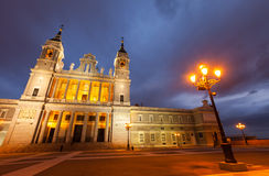 Almudena cathedral at Madrid in twilight Stock Images