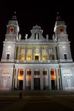 Almudena Cathedral by night in Madrid, Spain Royalty Free Stock Image
