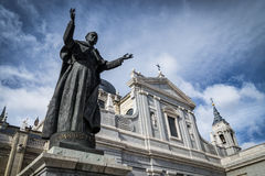 Almudena Cathedral. With Pope John Paul II sculpture in Madrid closed up Stock Photos
