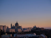 Almudena Cathedral Sunset Landscape Immagine Stock