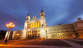 Almudena cathedral in twilight. Madrid Royalty Free Stock Images