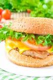 Almuerzo americano sabroso - cheeseburger con la chuleta de la carne, queso y Imagen de archivo