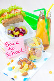 Almuerzo de Bento para su niño en la escuela, caja con un sandwic sano Fotos de archivo