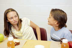 Almuerzo de escuela - Disgusted Fotos de archivo libres de regalías