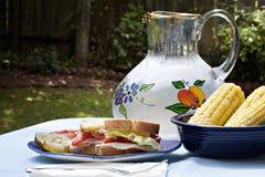 Almuerzo de la comida campestre con el emparedado y el maíz imagenes de archivo