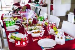 Almuerzo de la Navidad Imagen de archivo libre de regalías