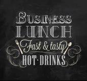 Almuerzo de negocios del cartel. Tiza. Imagenes de archivo