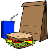 Almuerzo del bolso de Brown Fotografía de archivo libre de regalías