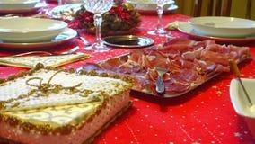Almuerzo determinado de la Navidad de la tabla metrajes
