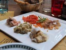 Almuerzo italiano de los mariscos imagen de archivo