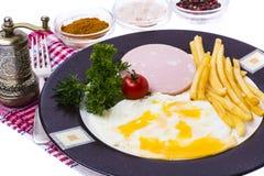 Almuerzo o desayuno caluroso delicioso en la placa Fotografía de archivo libre de regalías