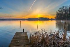 Alndscape del lago ad alba Immagine Stock Libera da Diritti